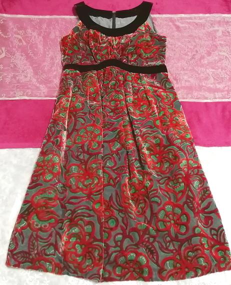 赤花柄ベロアノースリーブミニスカートワンピース Red flower pattern velour sleeveless mini skirt onepiece_画像1
