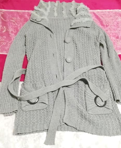 灰グレーニットセーターファー襟/カーディガン/羽織 Ash gray knit sweater fur collar cardigan_画像6