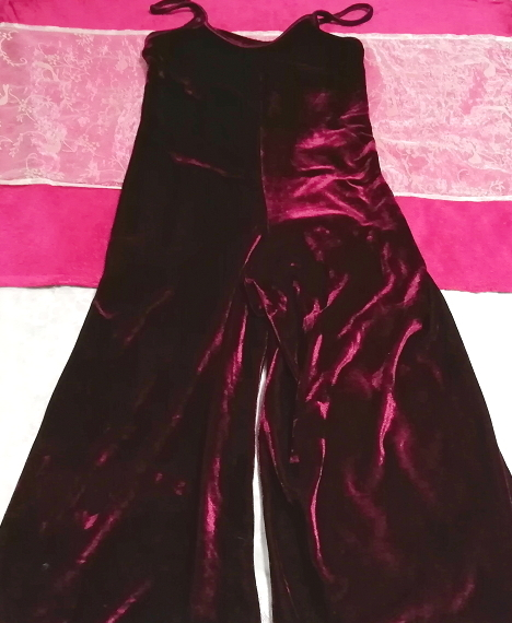 ベロアパープルワインレッドキャミソールワンピーススカーチョ Velour purple wine red camisole onepiece scarcho_画像3