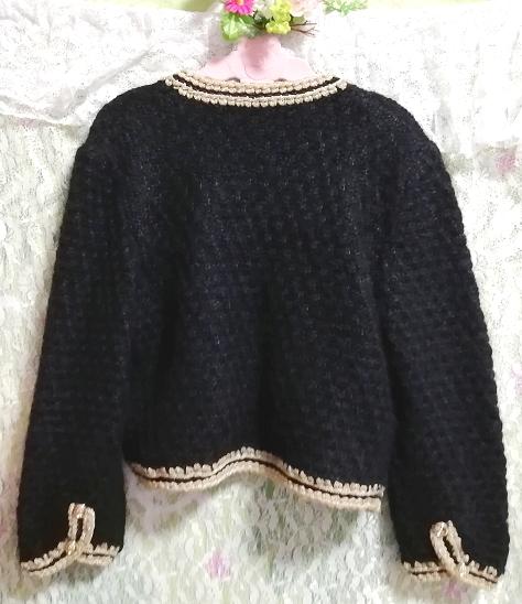 黒と金絹シルク編みニットセーター/カーディガン/羽織 Black and gold silk knit sweater cardigan coat_画像3