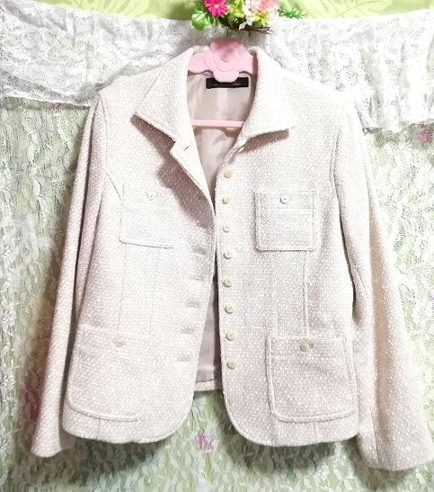 白ピンクカーディガンコート/外套/アウター White pink cardigan coat mantle,コート&コート一般&Mサイズ