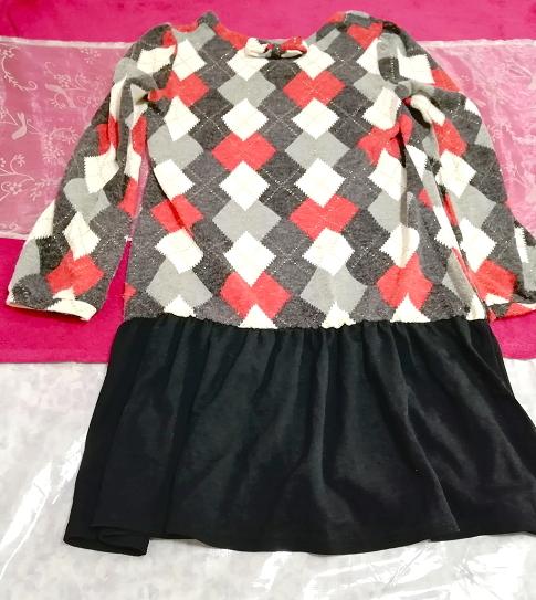 赤白黒灰ダイア柄ニットトップス黒スカート長袖チュニック/ワンピース Red white black ash knit black skirt long sleeve tunic onepiece_画像4