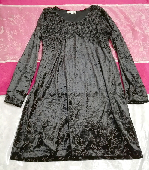 日本製黒ブラックベロア葉柄長袖チュニック/ワンピース/トップス Made in japan black velour petiole long sleeve tunic onepiece tops_画像1