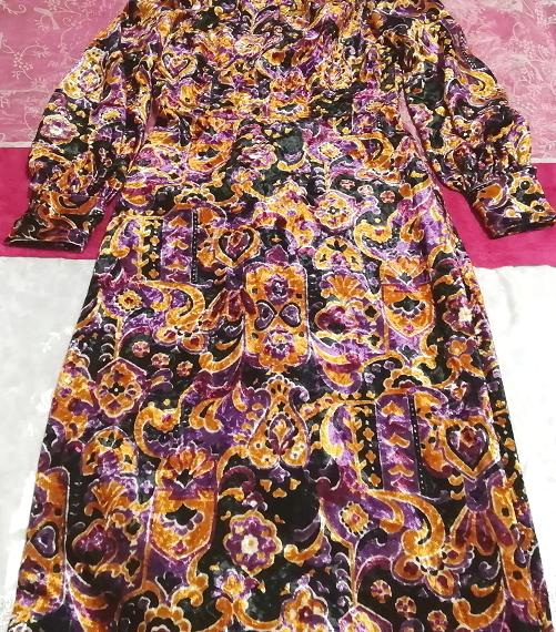 黒紫金ベロアエスニック柄ロングマキシワンピース Black purple velour ethnic pattern long maxi onepiece_画像2