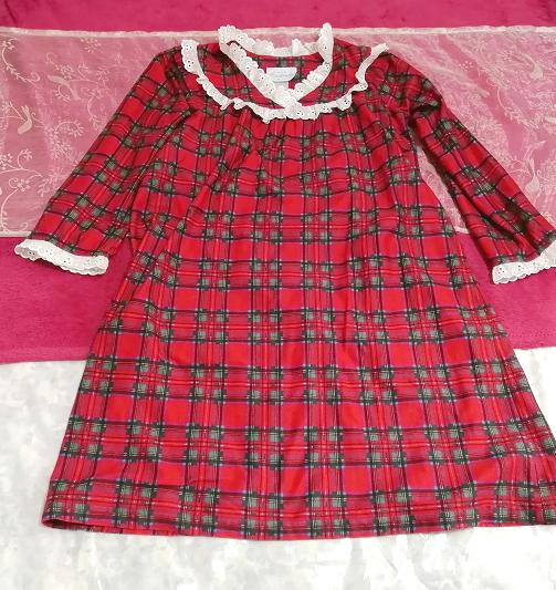 赤チェック柄長袖白レースチュニック/ワンピース/トップス Red check pattern long sleeve white lace tunic onepiece tops_画像1