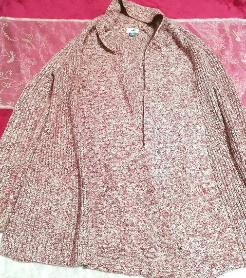 赤紫ニットセーター/カーディガン/羽織 Red purple knit sweater cardigan coat_画像1
