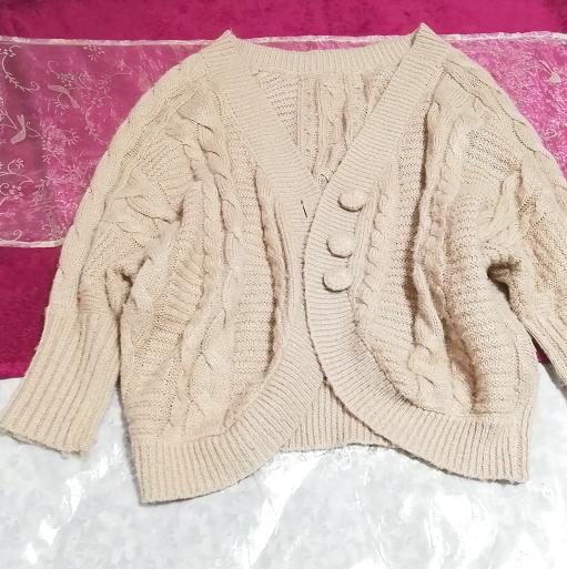 ピンクベージュニットセーター/カーディガン/羽織 Pink beige knit sweater cardigan_画像4