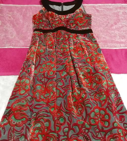赤花柄ベロアノースリーブミニスカートワンピース Red flower pattern velour sleeveless mini skirt onepiece_画像2