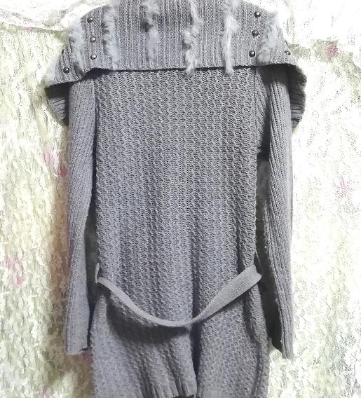 灰グレーニットセーターファー襟/カーディガン/羽織 Ash gray knit sweater fur collar cardigan_画像5