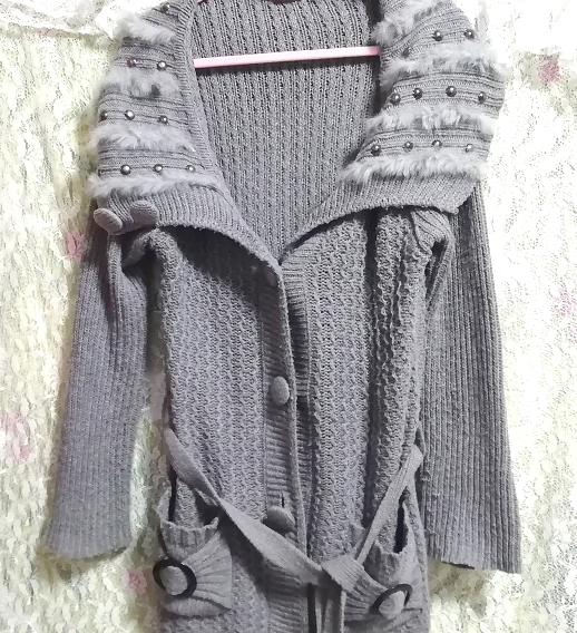 灰グレーニットセーターファー襟/カーディガン/羽織 Ash gray knit sweater fur collar cardigan_画像4