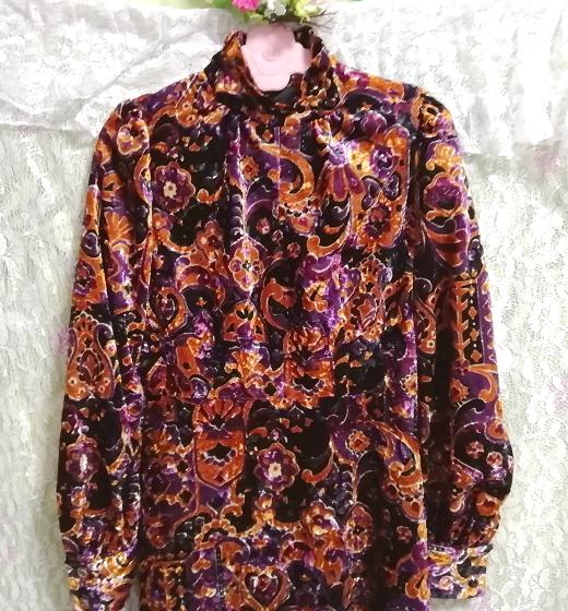 黒紫金ベロアエスニック柄ロングマキシワンピース Black purple velour ethnic pattern long maxi onepiece_画像7