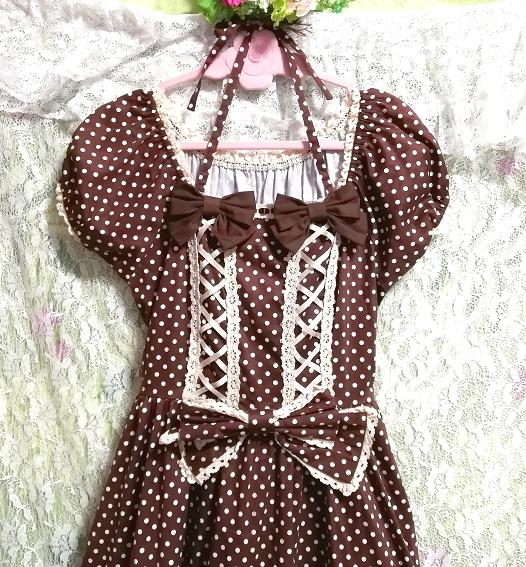 茶色ブラウンメイドゴスロリ白水玉柄スカートワンピース Brown maid gothic lolita white polka dot skirt onepiece_画像7