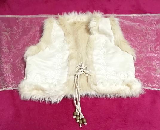 亜麻色アイボリーふわふわベスト/カーディガン/羽織 Flax color ivory fluffy vest cardigan_画像3