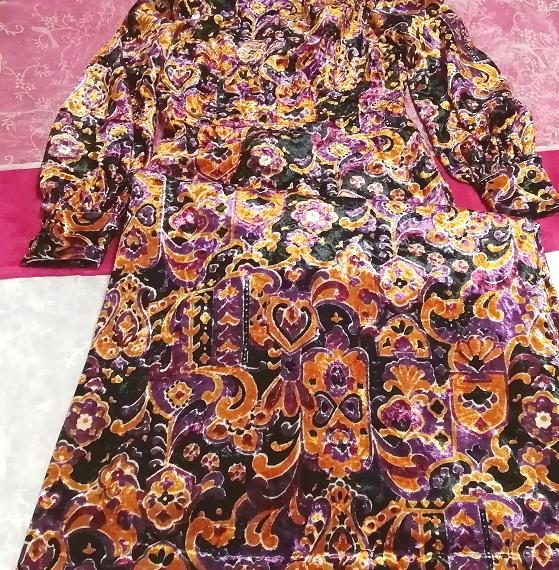 黒紫金ベロアエスニック柄ロングマキシワンピース Black purple velour ethnic pattern long maxi onepiece_画像4