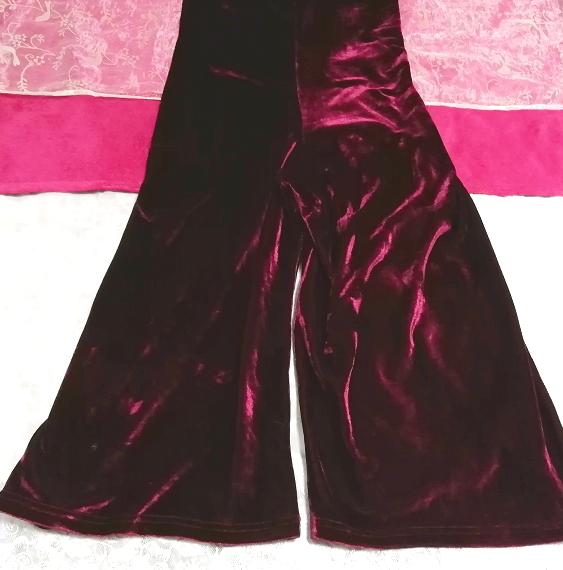 ベロアパープルワインレッドキャミソールワンピーススカーチョ Velour purple wine red camisole onepiece scarcho_画像2
