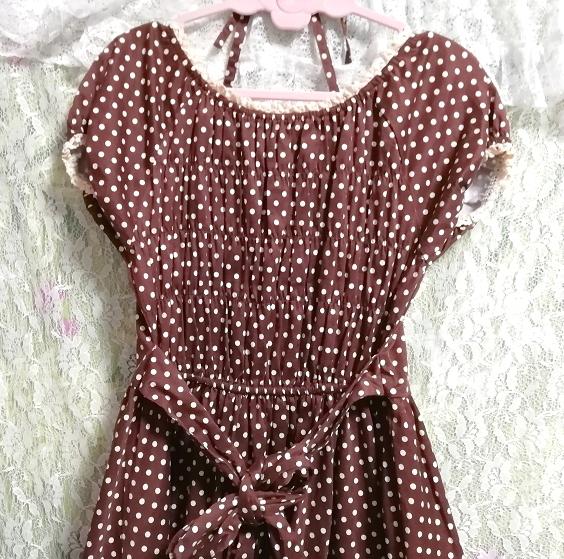茶色ブラウンメイドゴスロリ白水玉柄スカートワンピース Brown maid gothic lolita white polka dot skirt onepiece_画像6