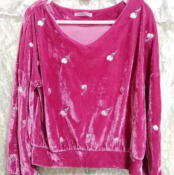 ピンク光沢長袖花柄チュニック/トップス Pink luster long sleeve flower pattern tunic tops_画像5