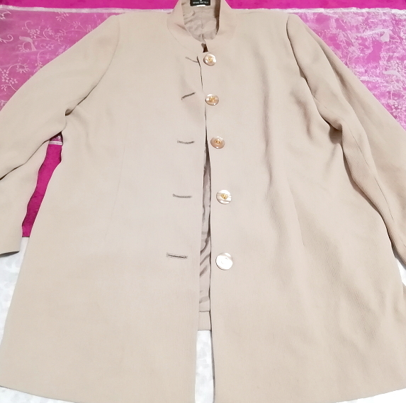 亜麻色綺麗ボタン/カーディガン/羽織 Flax color beautiful button cardigan_画像2