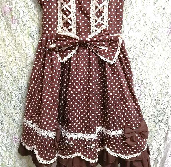 茶色ブラウンメイドゴスロリ白水玉柄スカートワンピース Brown maid gothic lolita white polka dot skirt onepiece_画像8