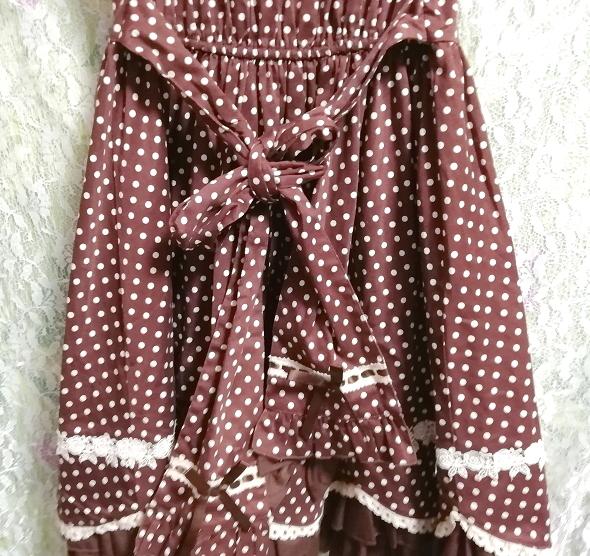 茶色ブラウンメイドゴスロリ白水玉柄スカートワンピース Brown maid gothic lolita white polka dot skirt onepiece_画像9