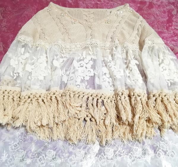 花刺繍コットン100%白レース亜麻色ニットフリンジポンチョケープ Flower embroidery white lace flax color knit fringe poncho cape_画像3