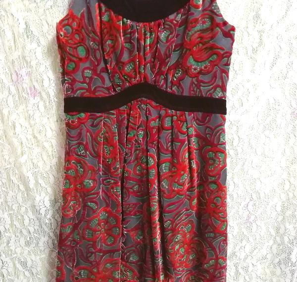 赤花柄ベロアノースリーブミニスカートワンピース Red flower pattern velour sleeveless mini skirt onepiece_画像5
