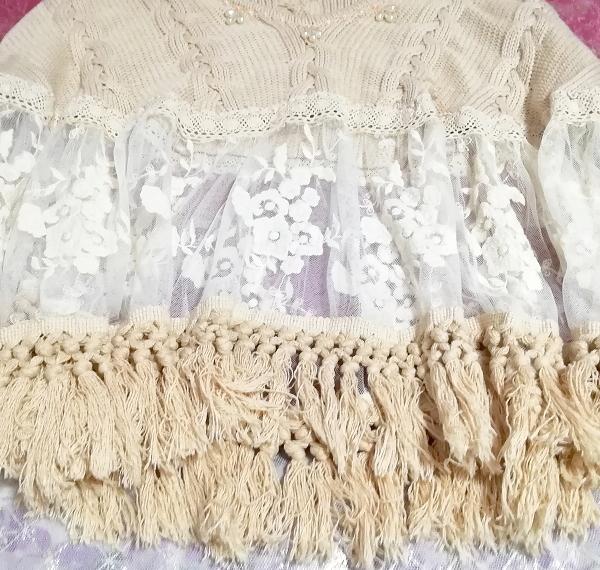 花刺繍コットン100%白レース亜麻色ニットフリンジポンチョケープ Flower embroidery white lace flax color knit fringe poncho cape_画像4