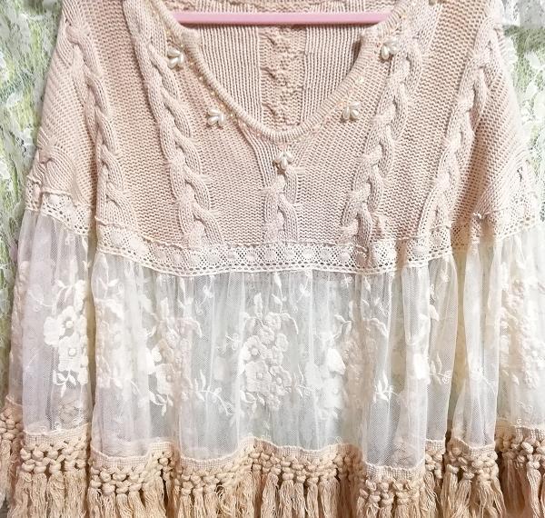 花刺繍コットン100%白レース亜麻色ニットフリンジポンチョケープ Flower embroidery white lace flax color knit fringe poncho cape_画像7