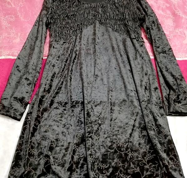 日本製黒ブラックベロア葉柄長袖チュニック/ワンピース/トップス Made in japan black velour petiole long sleeve tunic onepiece tops_画像2