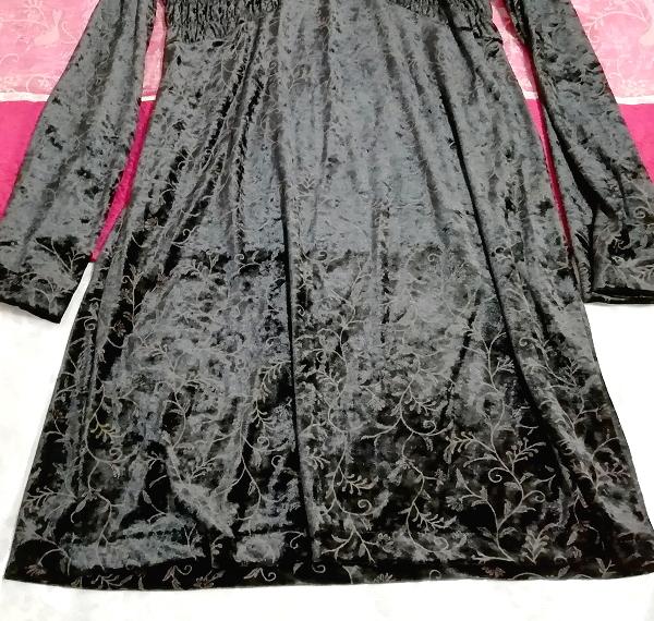 日本製黒ブラックベロア葉柄長袖チュニック/ワンピース/トップス Made in japan black velour petiole long sleeve tunic onepiece tops_画像3