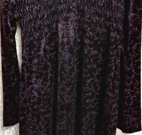 日本製黒ブラックベロア葉柄長袖チュニック/ワンピース/トップス Made in japan black velour petiole long sleeve tunic onepiece tops_画像8