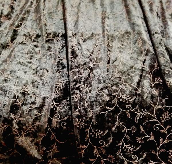 日本製黒ブラックベロア葉柄長袖チュニック/ワンピース/トップス Made in japan black velour petiole long sleeve tunic onepiece tops_画像4