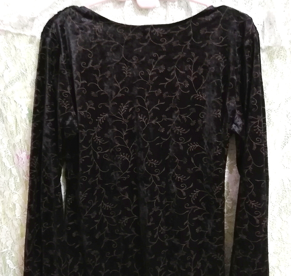 日本製黒ブラックベロア葉柄長袖チュニック/ワンピース/トップス Made in japan black velour petiole long sleeve tunic onepiece tops_画像7