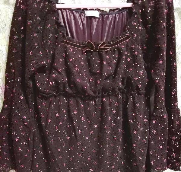 焦茶ブラウン長袖花柄フレアレースチュニック/ワンピース/トップス Dark brown long sleeve flower pattern lace tunic onepiece tops_画像5
