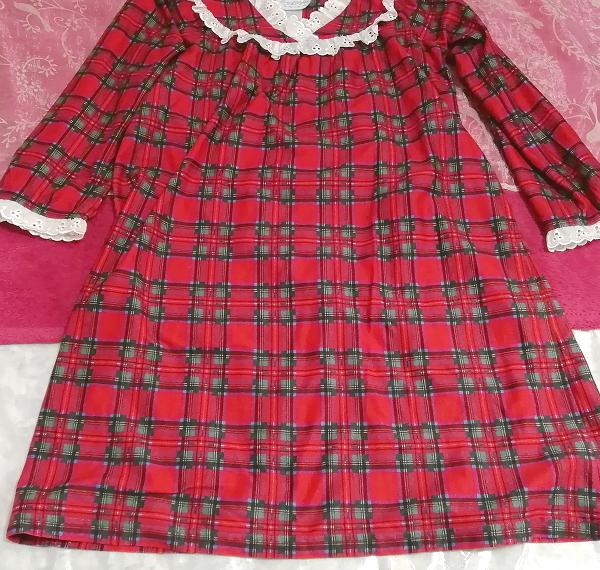 赤チェック柄長袖白レースチュニック/ワンピース/トップス Red check pattern long sleeve white lace tunic onepiece tops_画像2