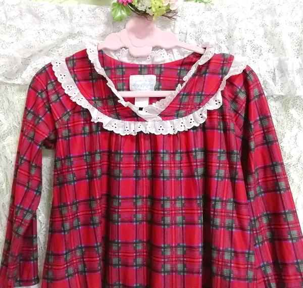 赤チェック柄長袖白レースチュニック/ワンピース/トップス Red check pattern long sleeve white lace tunic onepiece tops_画像5