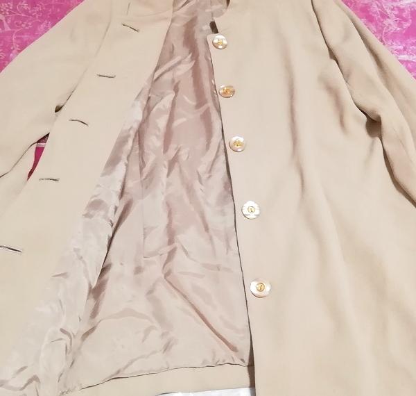 亜麻色綺麗ボタン/カーディガン/羽織 Flax color beautiful button cardigan_画像4
