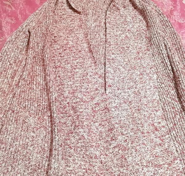 赤紫ニットセーター/カーディガン/羽織 Red purple knit sweater cardigan coat_画像3