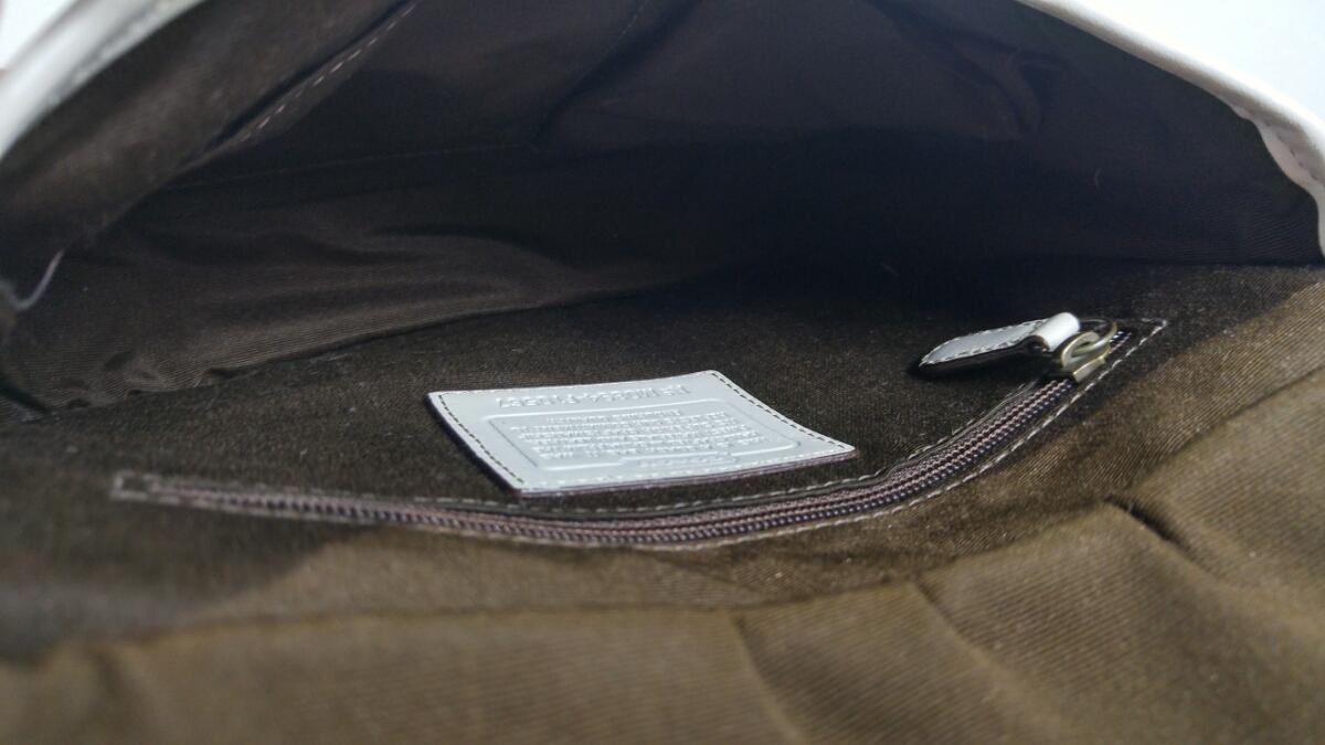 コーチ COACH ショルダー バッグ F10567 レガシーシグネチャーヒッピーフラップ ジャガード×レザー カーキ×白 _画像5