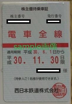 次期 西日本鉄道 株主優待乗車証 電車全線 1枚