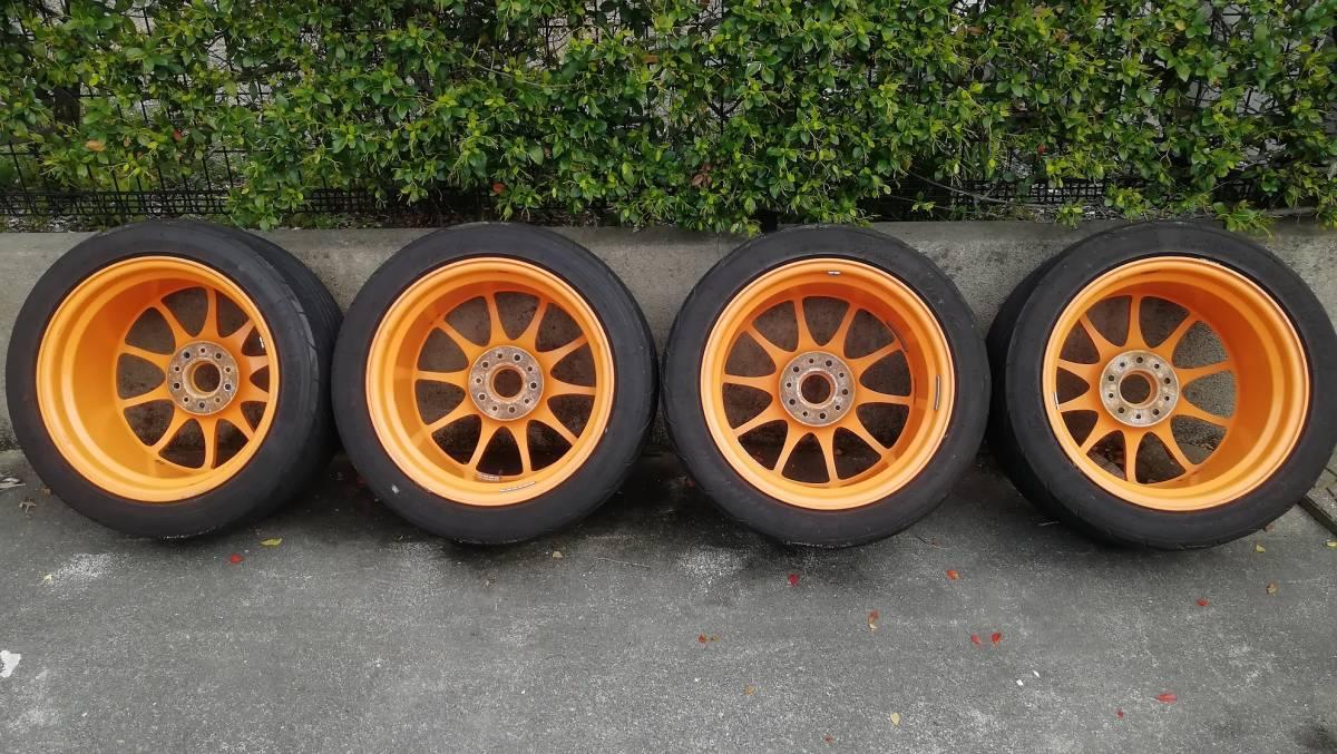 【希少】RAYS CE28N 17インチ 9J +54 5H 114.3 鍛造 4本同サイズ オレンジ(塗装品) タイヤ:NS-2R(おまけ) S2000 DC5 FD2 RX-8 など_画像2