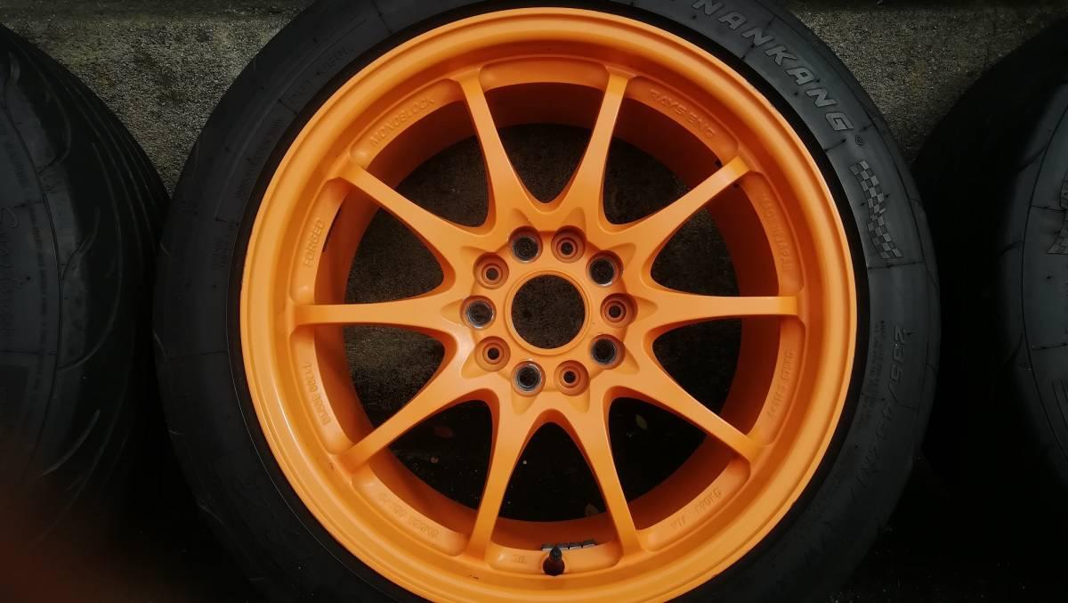 【希少】RAYS CE28N 17インチ 9J +54 5H 114.3 鍛造 4本同サイズ オレンジ(塗装品) タイヤ:NS-2R(おまけ) S2000 DC5 FD2 RX-8 など_画像4