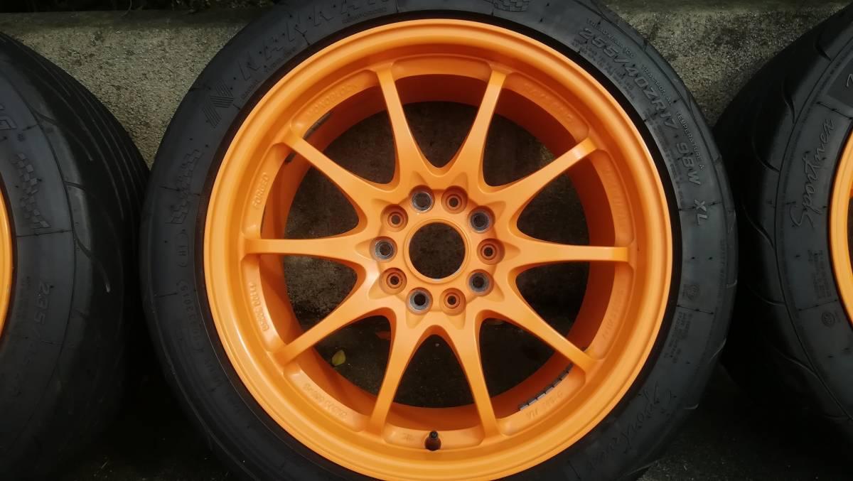 【希少】RAYS CE28N 17インチ 9J +54 5H 114.3 鍛造 4本同サイズ オレンジ(塗装品) タイヤ:NS-2R(おまけ) S2000 DC5 FD2 RX-8 など_画像5