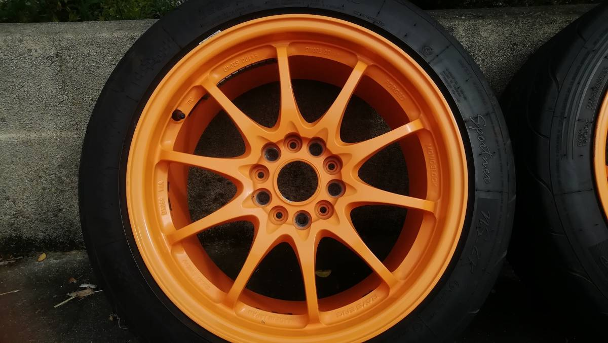 【希少】RAYS CE28N 17インチ 9J +54 5H 114.3 鍛造 4本同サイズ オレンジ(塗装品) タイヤ:NS-2R(おまけ) S2000 DC5 FD2 RX-8 など_画像3