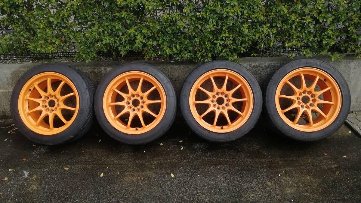 【希少】RAYS CE28N 17インチ 9J +54 5H 114.3 鍛造 4本同サイズ オレンジ(塗装品) タイヤ:NS-2R(おまけ) S2000 DC5 FD2 RX-8 など