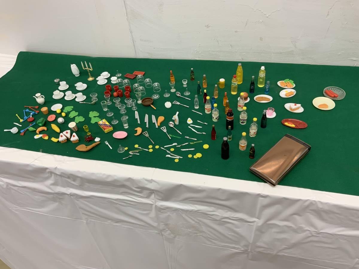 ◎ ミニチュアセット 大量 154個 コーヒーカップ、瓶、カップ、フルーツ、ハンバーグ 他