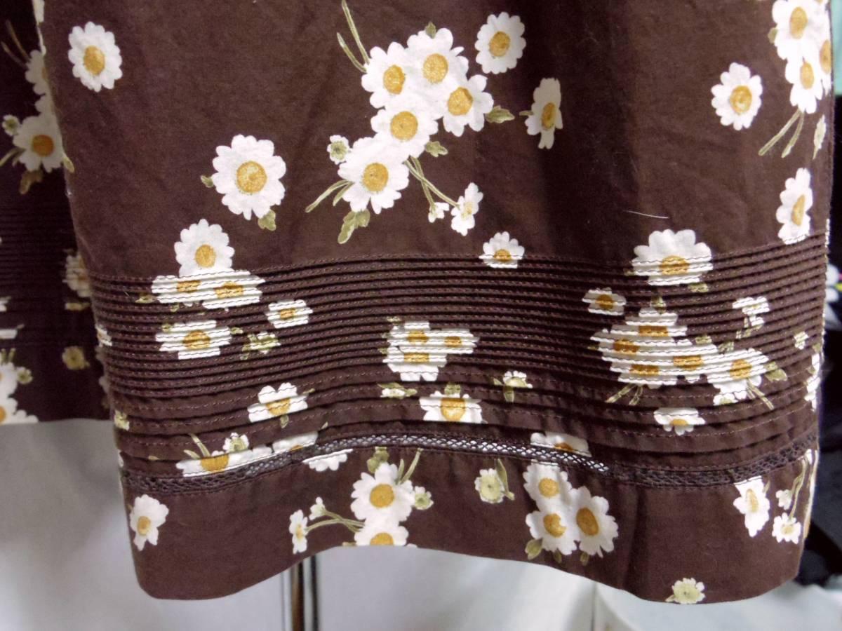 ピンクハウス PINKHOUSE  綿100% ブラウンベース 白い小花のプリント ロングフレアースカート 中古_画像3