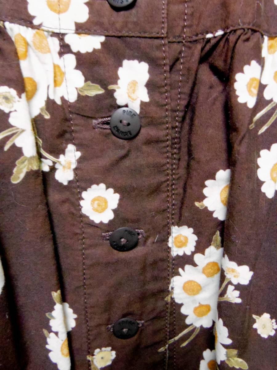 ピンクハウス PINKHOUSE  綿100% ブラウンベース 白い小花のプリント ロングフレアースカート 中古_画像2