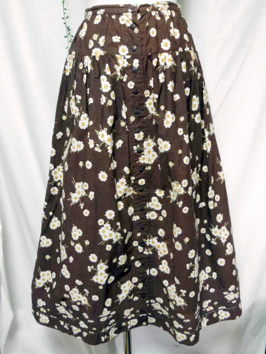 ピンクハウス PINKHOUSE  綿100% ブラウンベース 白い小花のプリント ロングフレアースカート 中古_画像1