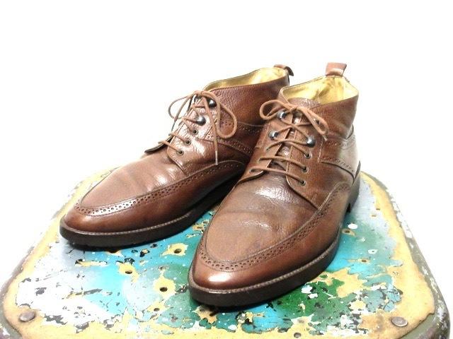 ミドルカット【イタリア製 ケネスコール もみ革 ブローギング ブーツ 茶 】デザイナーズ USA アメリカ 革靴